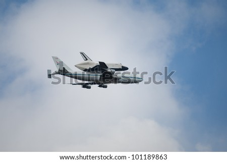 NYC - APRIL 27: Space Shuttle Enterprise, transported from Smithsonian Museum to its final home in New York City, on April 27, 2012. - stock photo