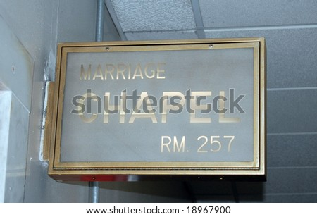 NYC City Hall marriage chapel  sign - stock photo