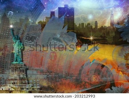 NYC Composition Elements of this image furnished by NASA - stock photo