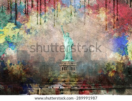 NYC Landscape with dripping paint - stock photo