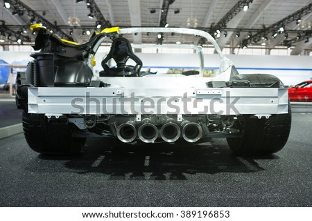 NYC - March 2016 : A cutaway of the new 2015 Chevy Corvette Stingray on display at the NY International Auto Show - stock photo