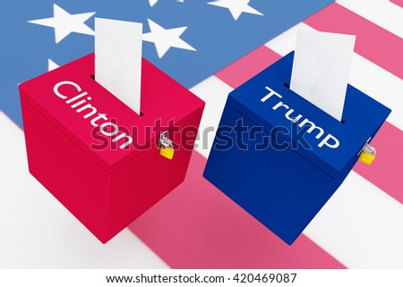 """NYC - MAY 14, 2016: 3D illustration of """"Clinton"""", """"Trump"""" scripts and on two ballot boxes, with US flag as a background. Election Concept. - stock photo"""
