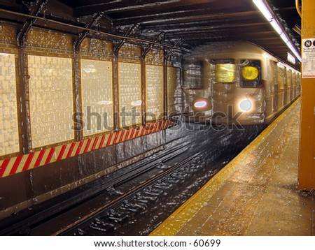 NYC MTA SUbway - W Train at CIty Hall Station w/ plastic wrapping - stock photo