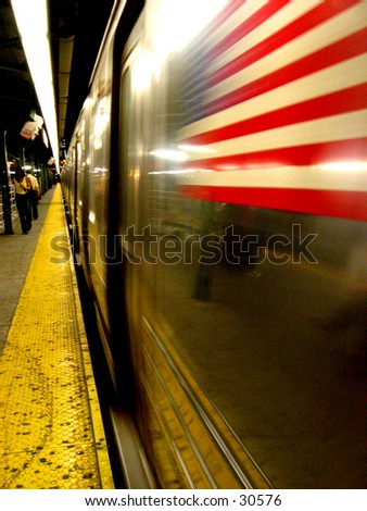 NYC Subway with American Flag - stock photo