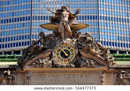 NYC:  The iconic beaux arts statue of the Greek God Mercury adorns the south facade of Grand Central Terminal on East 42nd Street  * - stock photo