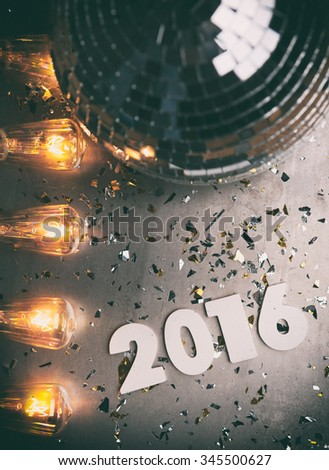 NYE: Disco Retro Background For New Year 2016 - stock photo