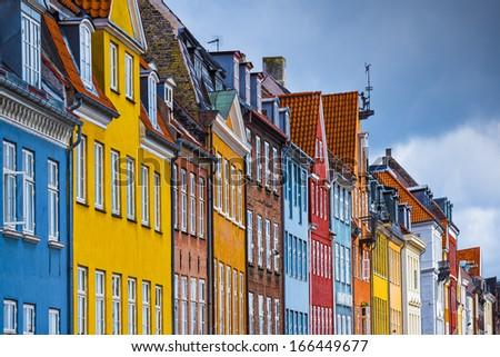 Nyhavn buildings in Copenhagen, Denmark. - stock photo