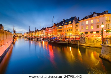 Nyhavn Canal of Copenhagen - stock photo