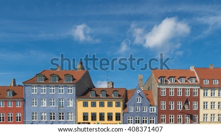 Nyhavn district is one of the most famous landmark in Copenhagen, Denmark - stock photo
