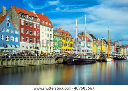 Nyhavn in Copenhagen, Denmark on a sunny day - stock photo