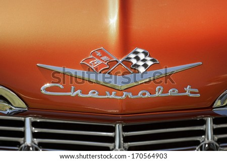 NYKARLEBY, FINLAND - CIRCA 2006: Hood ornament of a 1950s Chevrolet. circa 2006 in Nykarleby, Finland  - stock photo