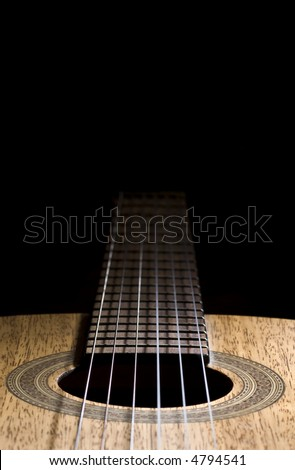 nylon string acoustic guitar, close up - stock photo