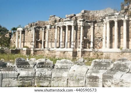 Nymphaeum fountain in Side, Turkey - stock photo