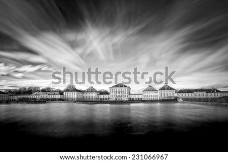 Nymphenburg castle in Munich, Germany. Shot taken with long exposure time. - stock photo