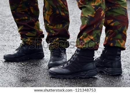 NZ Army combat uniform on a soldiers. - stock photo