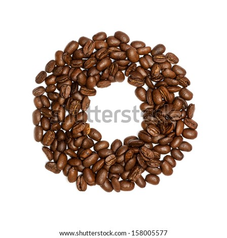 O, Alphabet from coffee beans on white background - stock photo