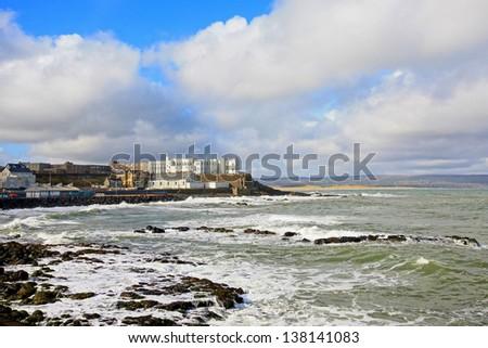 O'Hara's Castle and the seashore in Portstewart, Northern Ireland - stock photo