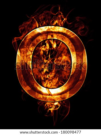 o, illustration of  letter with chrome effects and red fire on black background - stock photo
