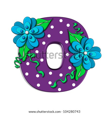 """O, in the alphabet set """"Clinging Vine"""", is decorated with mod flowers in three layers.  Letters are purple and vines and leaves are mint green. - stock photo"""