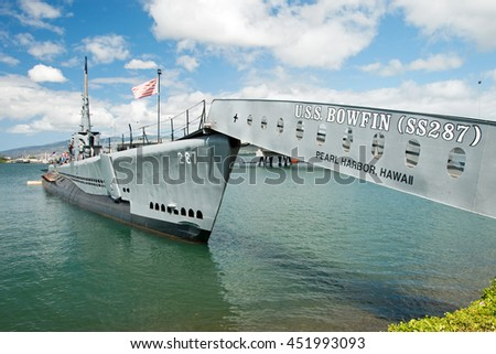OAHU, HI - SEPTEMBER 20, 2011 - USS Bowfin submarine in Pearl Harbor museum on September 20, 2011 in Oahu. Attack on Pearl Harbor by Empire of Japan in 1941 brought United States into World War II. - stock photo