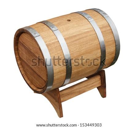 Oak barrel isolated on a white background - stock photo