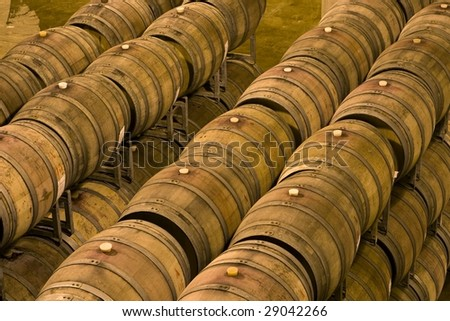 oak barrels - stock photo