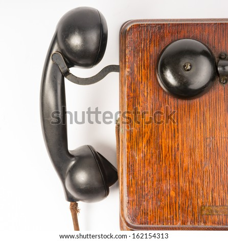 Oak Telephone box Handset and Ringer Vintage Communication Tool - stock photo