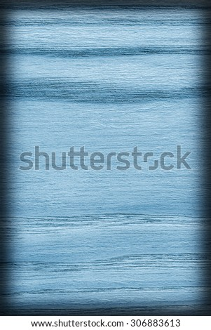 Oak Wood Bleached and Marine Blue Stained, Vignette Grunge Texture Sample. - stock photo
