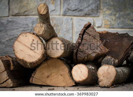 oak wood to light the fireplace to heat the house a winter day - stock photo