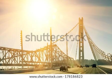 Oakland Bay Bridge in San Francisco before Sunset - stock photo