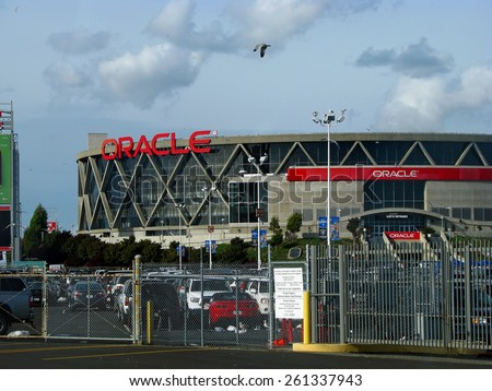 OAKLAND, CA - NOVEMBER 18: Exterior View Oracle Arena at Oakland Raiders Football Game 2012 - stock photo
