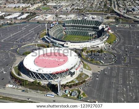 OAKLAND, CA, USA-OCTOBER 26:Oakland-Alameda County Coliseum Arena and O.co Coliseum on October 26, 2011. It was originally constructed in 1966 - stock photo
