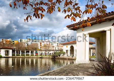 Oakland, California downtown Lake Merritt park. The historic pergola was built in 1913 and restored in 2007. - stock photo