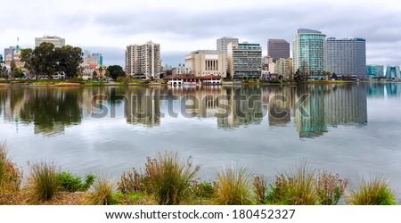 Oakland California Lake Merritt waterfront and skyline view - stock photo