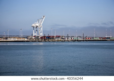 Oakland Middle Harbor in California, USA, container terminal - stock photo
