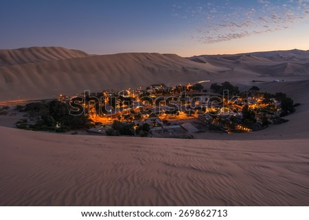 Oasis of Huacachina, Atacama Desert, Peru - stock photo