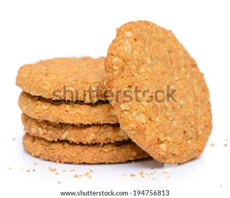 Oat biscuit cookie on white background - stock photo