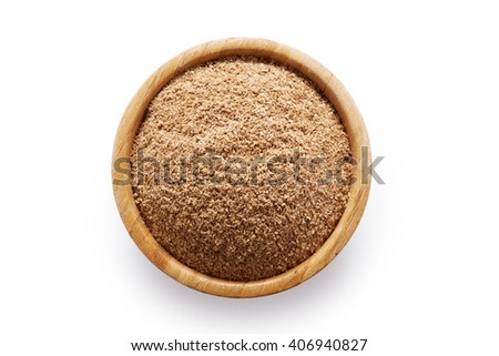 oat bran in bowl isolated on white background/ diet food - stock photo