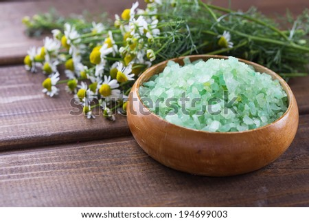 Oat flakes in bowl  on wooden table. Selective focus, horizontal. - stock photo