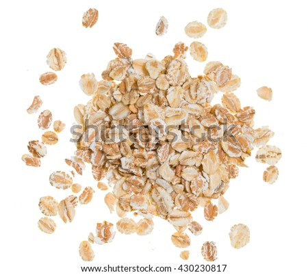 oat flakes on a white background - stock photo