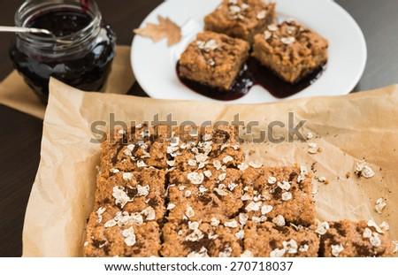 Oatmeal cake - stock photo
