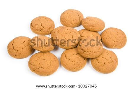 Oatmeal cookies isolated on white - stock photo