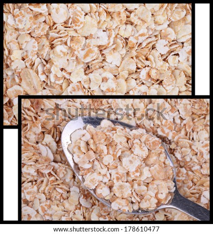 oatmeal. two photos for your food background - stock photo