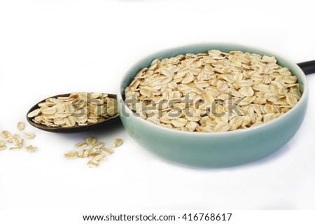 oats in bowl - stock photo