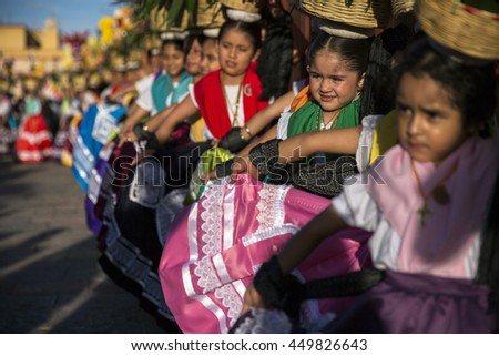 """Oaxaca, Mexico. - July 8, 2016. Musicians playing in front of Santo Domingo church for """"guelaguetza"""" celebration in Oaxaca, Mexico - stock photo"""