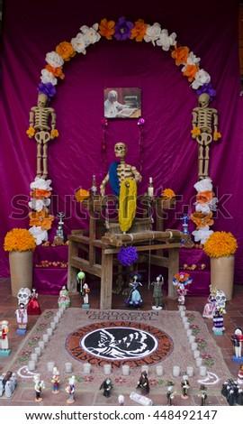 OAXACA, OAXACA, MEXICO- NOVEMBER 2, 2015: Day of the Dead Festival  in Oaxaca, Mexico. Altar display   - stock photo