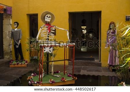OAXACA, OAXACA, MEXICO- NOVEMBER 2, 2015: Skeleton musician. Part of the day of the dead celebration in Oaxaca, Mexico - stock photo