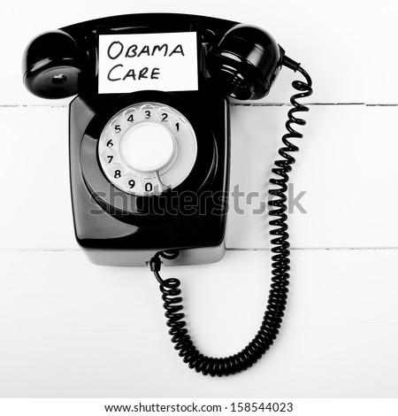 Obama care telephone help line concept - stock photo