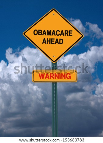 obamacare ahead warning  conceptual directional post over blue sky - stock photo