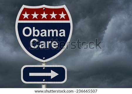 ObamaCare Sign, A red, white and blue highway sign with words ObamaCare and an arrow sign with stormy sky background - stock photo